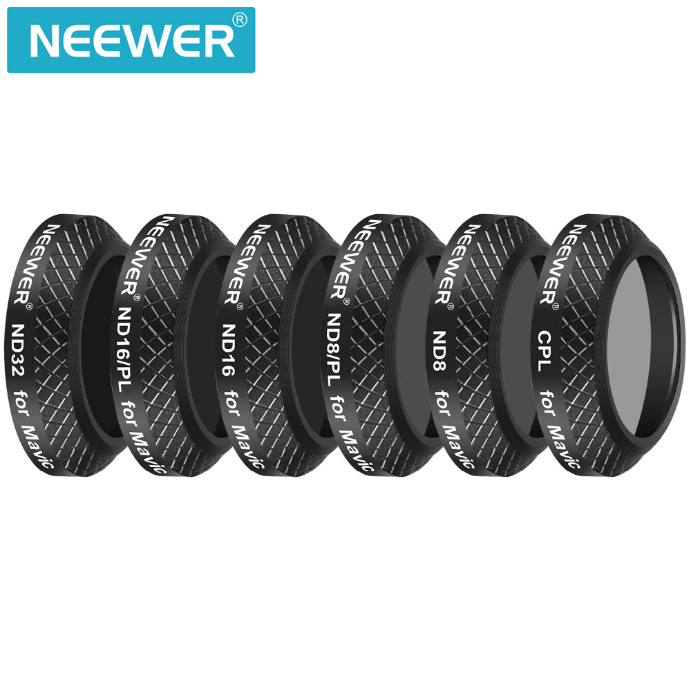 Neewer 6 Pieces Multi Coated Filter Kit for DJI Mavic Pro Drone Quadcopter:CPL+ND8+ND16+ND32+ND8/PL+ND16/PL Lens Filters travel aluminum blue dji mavic pro storage bag case box suitcase for drone battery remote controller accessories