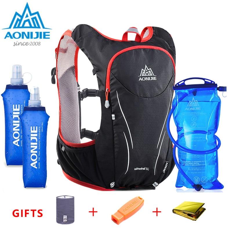 2018 AONIJIE 5L hommes femmes Marathon hydratation gilet Pack pour 1.5L sac à eau cyclisme randonnée sac en plein air Sport Camp course sac à dos