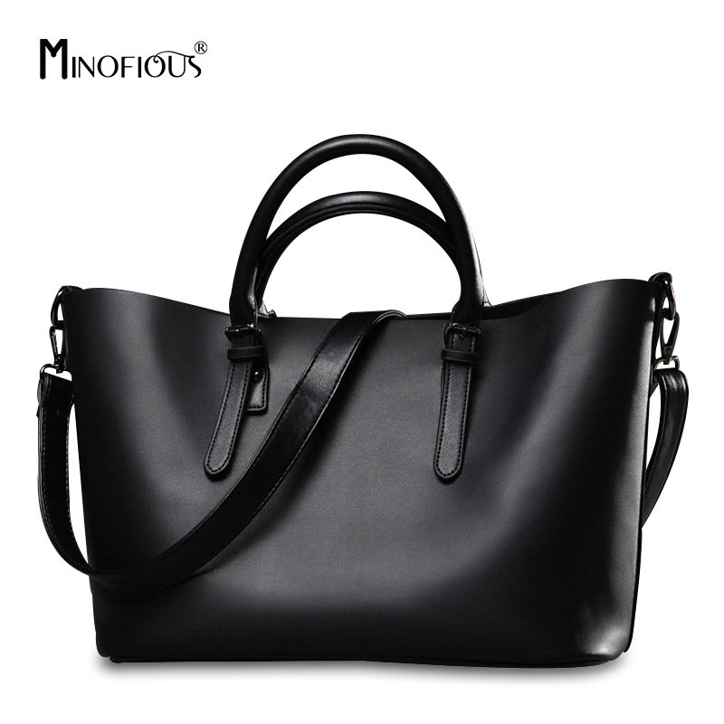 MINOFIOUS Fashion Women Genuine Leather Handbags Ladies Brand Hobos Bag Casual Solid Tote Bag Large Capacity Black Shoulder Bags [whorse] brand high quality women genuine leather shoulder bags cowhide ladies casual tote bag large capacity wa5054 7
