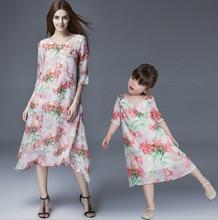 Мода Стиль Семейного отдыха Летом Соответствующий Наряд Мать Дочь Платье Половина Рукавом V шеи Цветочный Печати Платье