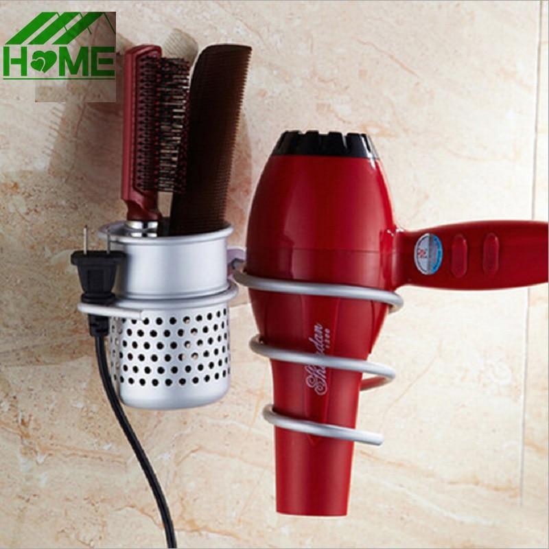 Alumīnija sienas stiprinājuma matu žāvētāja statīvs un organizatora salona vannasistabas stiprinājums spirālveida žāvētāja ķemmes plaukta uzglabāšanai