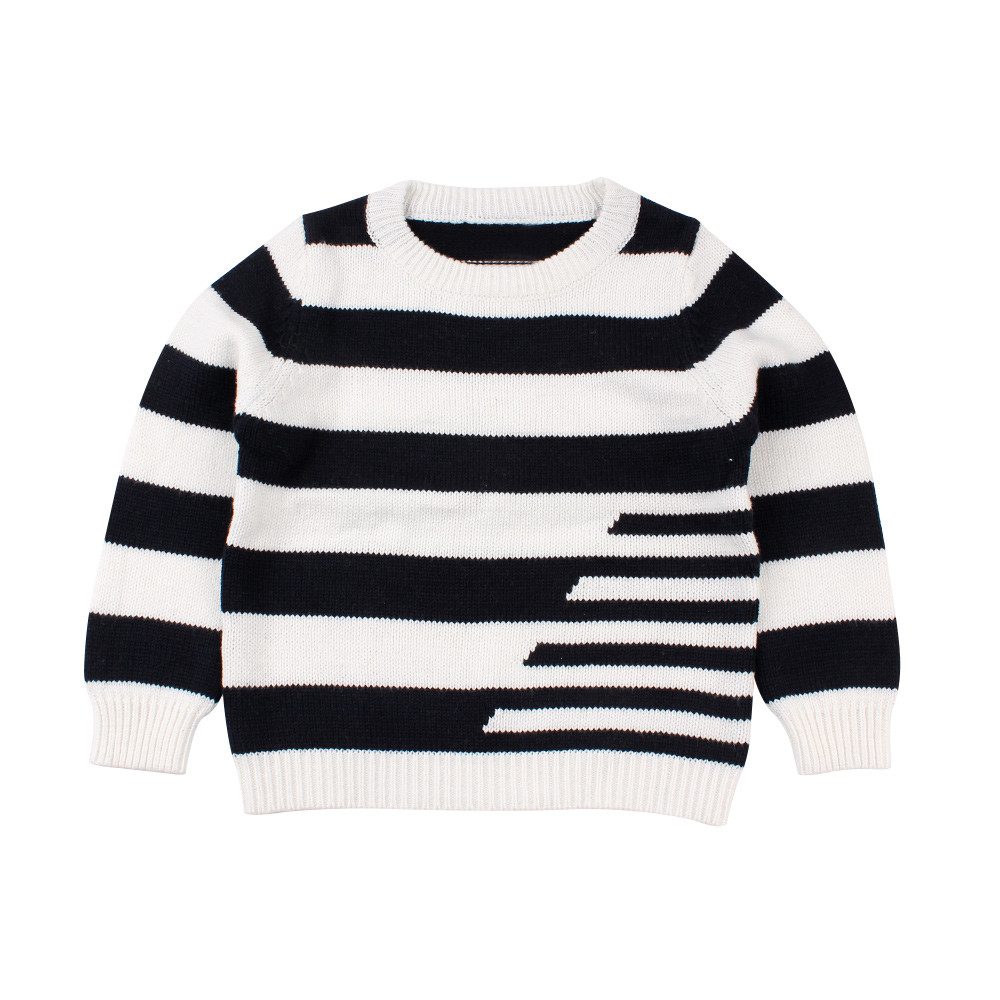 Striped Baby Sweater Cotton Soft Knit Pullover For Boys Fashion Black White Boys Sweater 2-6T O-Neck Long Sleeve Sweater Autumn geometric crew neck space dyed sweater