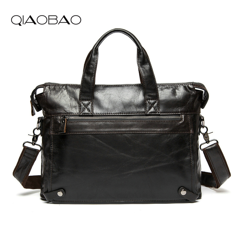 QIAOBAO 2019 Vintage Men's Bussiness Bag Messenger Bag Men Cowskin Leather Satchels Men Casual Briefcase Leisure Shoulder Bag