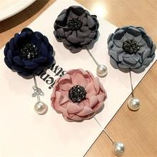 Korea New Handmade Modern Fabric Flower Rhinestone Brooches Pins Badges Fashion Jewelry For Woman Accessories-YHGWBH014F