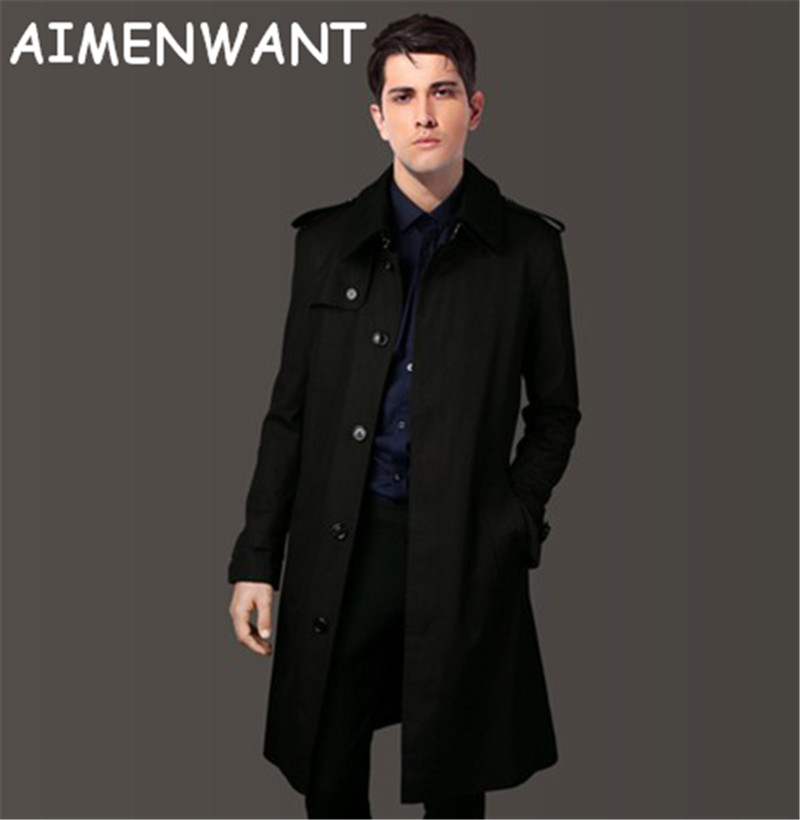 Men S Clothing 2017 Single Breasted Long Trench Coat Male