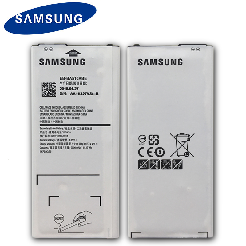 100% Original Samsung Phone Battery EB-BA510ABE For Samsung GALAXY A510 2016 A5 2016 Version 2900mAh Replacement Phone Battery