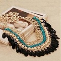 Bohemian colar jóias 2016 cadeia de moda strass colar declaração de colar de ouro colares borla mulheres Collier