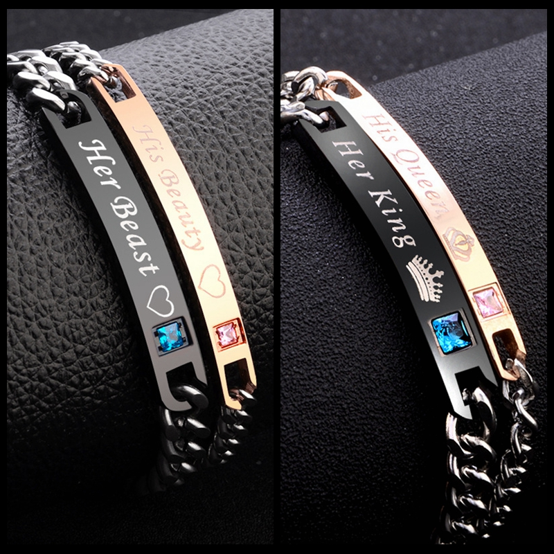 2pc Set His Queen Her King Black Rose Gold Color Women's Male Chain Crystal Couple Bracelet for Men snap jewelry bracelet femme
