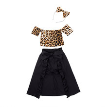 New 4Pcs Kids Baby Girl's Leopard Wipe Top+Dovetail Skirt Hair Band Shorts Sunsuit Outfit(China)