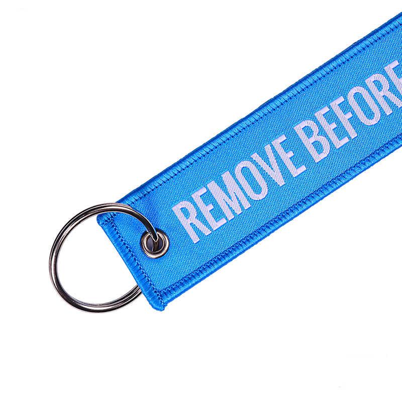 להסיר לפני טיסה ארוג אקארד מפתח שרשרות תג מטען OEM מפתח טבעת תעופה מתנות כחול מפתח שרשרת תכשיטים