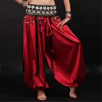 Dancewear danza del vientre yoga mujeres hombres pantalones sueltos tobillo elástico de cintura alta bloomers del satén largo pantalones unisex