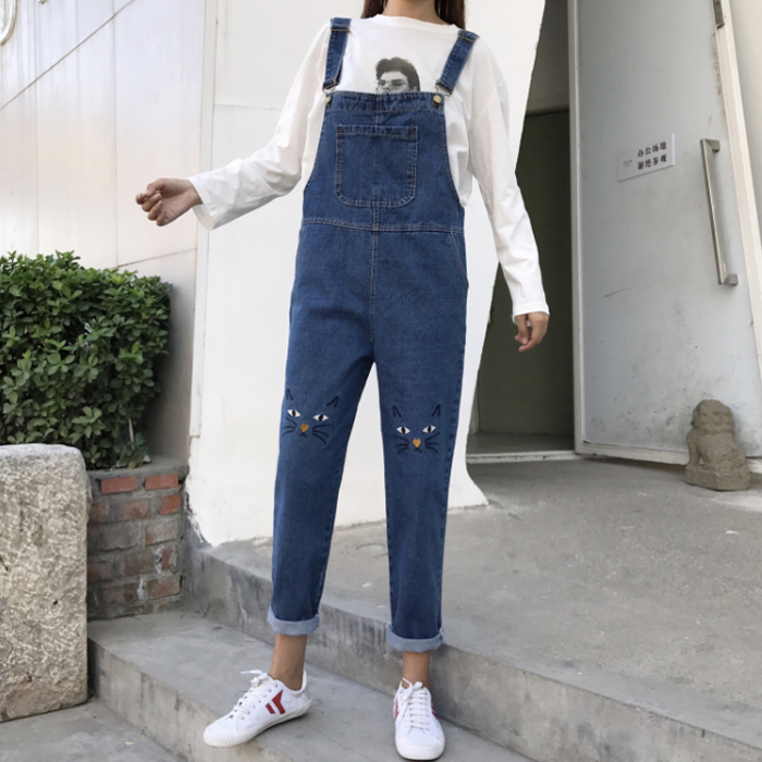 Kawaii Cartoon Cat Embroidery Pocket Adjustable Strap Romper Lolita Soft Sister Girl Jumpsuit Denim Jean Trouser Plus Size Pant Bottoms Women's Clothing