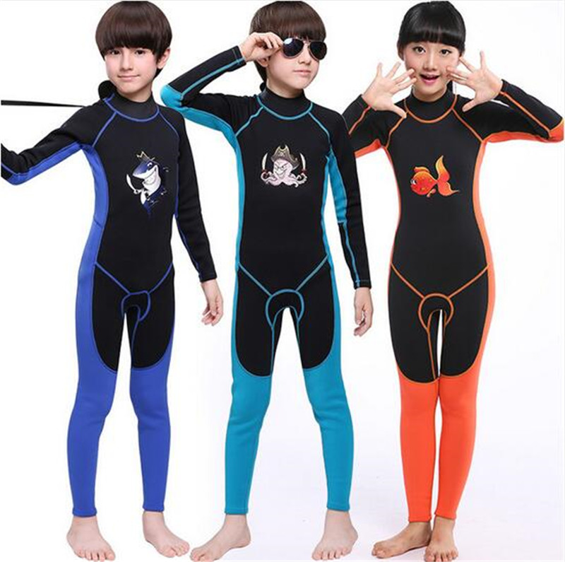 MYLEGEND 2mm Neoprene Children One-Piece long sleeve Wetsuit Kids Surfing Snorkeling Scuba Diving Suit Swimming Suit Diving