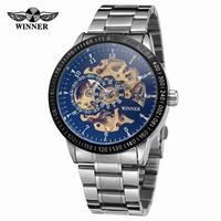 Fashion Winner Watch Mens Luxury Steampunk Automatic Mechanical Skeleton Stainless Steel Belt Business Wrist Watches