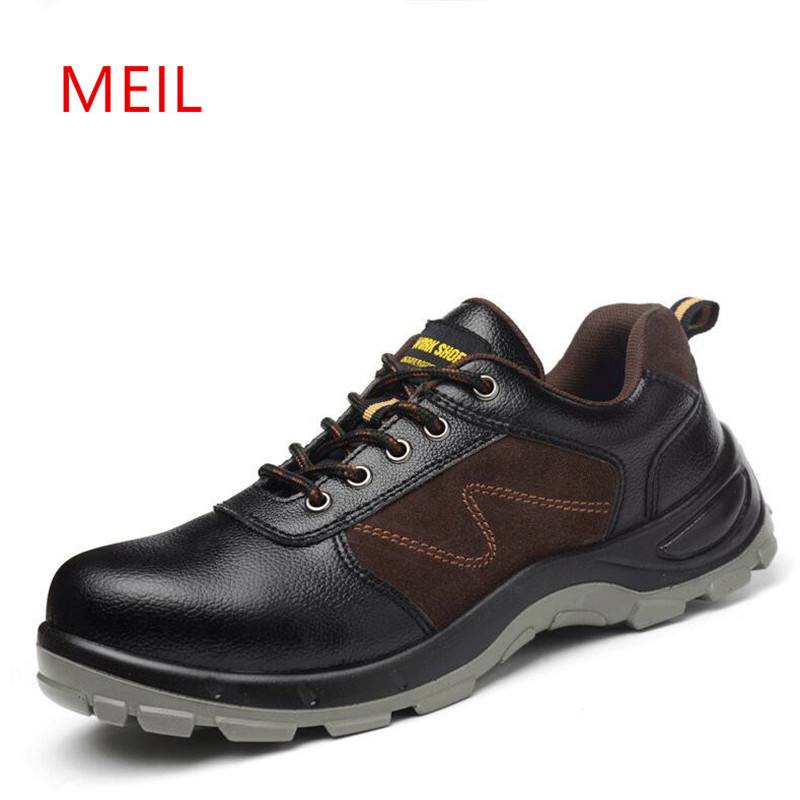 MEIL Winter Work Safety Shoes Steel Toe Warm Breathable Men's Casual Boots Puncture work Shoes Comfortable Oxford