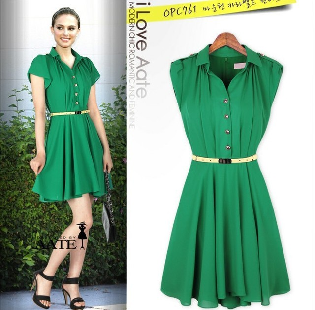 223c121149 Free Shipping Western Style Green Dresses New Fashion 2013 For Women  Chiffon Pleated Mini Clothes With Belt M -XL SD044