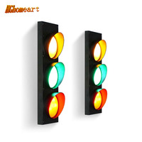 Retro Industrial Wallpapers Restaurant Cafe Bar Creative Decoration Personality Children House Wall Light Traffic Light Warning