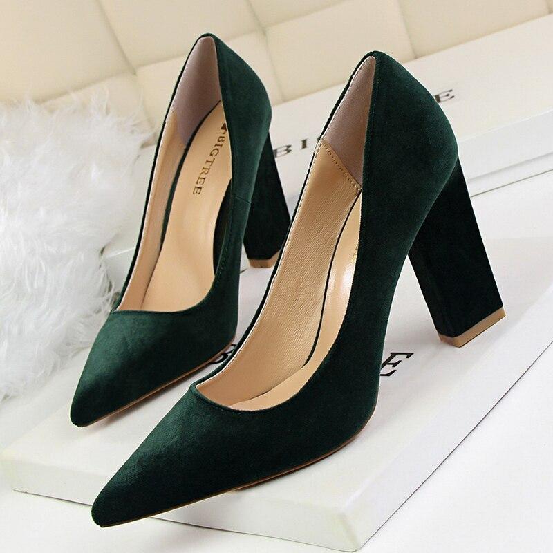BIGTREE Green Purple High Heels Pumps Women Shoes Square Elegant Chaussures Femme Suede Block Zapatos De Mujer Shallow Escarpins