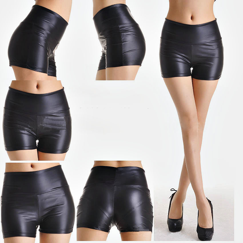 black for shorts women leather Tight