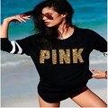 Korean Kawaii Cartoon Harajuku Autumn Golden words Pattern Women Sweatshirt  love Pink Women Clothing VS PINK Fleece