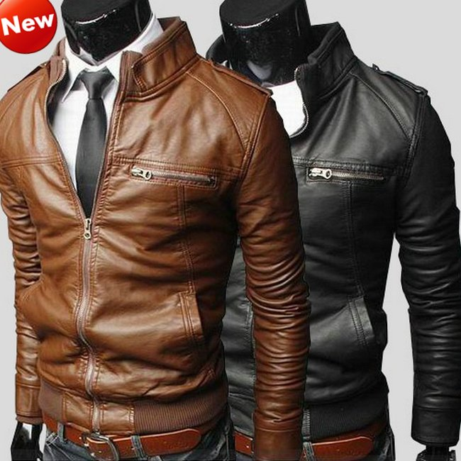 6450f216c NWT Men Punk Bomber Biker Rider Motorcycle Slim Fit Faux PU Leather ...