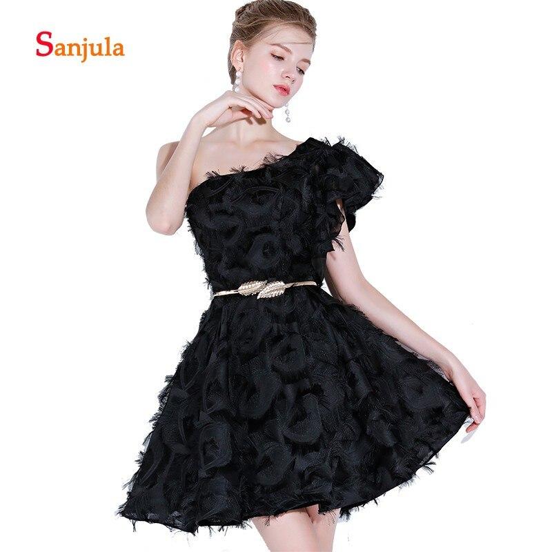 One Shoulder Black   Cocktail     Dresses   Feathers Above Knee Mini Lovely Short Evening Party   Dresses   White Graduation   Dresses   D558