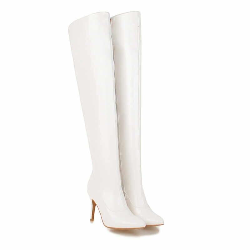 ASUMER สีดำสีแดงแฟชั่นเข่ารองเท้าผู้หญิง pointed Toe รองเท้าส้นสูงสุภาพสตรีรองเท้าสุภาพสตรี PROM รองเท้า PLUS ขนาด