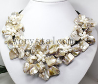 Nice Baroque White Pearl Seven MOP Shell Flower Bib Necklace