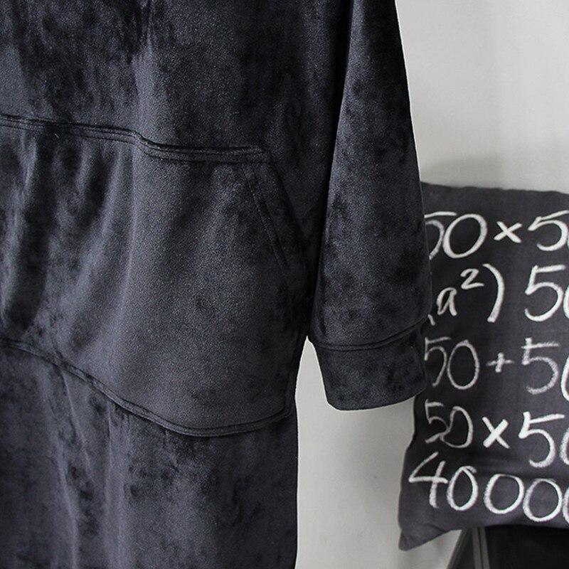 Yagenz Inverno blue Vestito A Confortevole Autunno Fashion dark 2017 Casual Caldo Top Con Black Cappuccio Affollamento Maniche Gray Lunghezza A97 Media Abito New Di Lunghe Del RZxg5zfwTq
