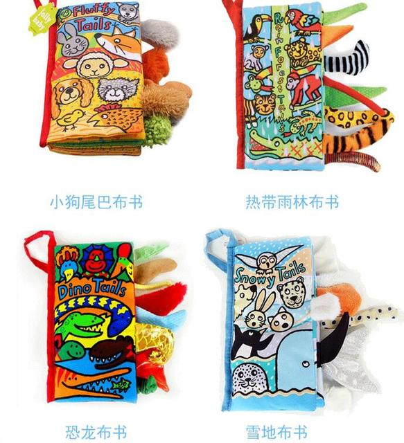 Jollybaby 8style Animal Baby Toys Infant Kids Early Development Cloth Books Learning Education Unfolding Activity story book 50%