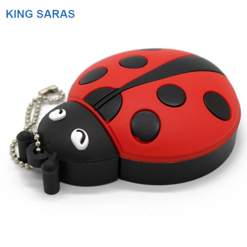 KING SARAS  cartoon Beetle model usb2.0 4GB 8GB 16GB 32GB 64GB pen drive USB Flash Drive creative gifty Stick Pendrive-in USB Flash Drives from Computer & Office