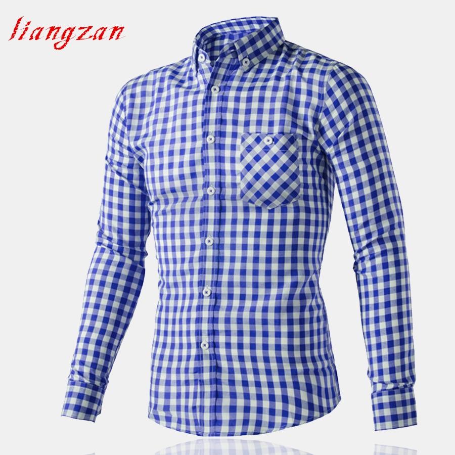 Men Plaid Shirt Slim Fit Autumn Long Sleeve Business Brand Male Camisa Masculina