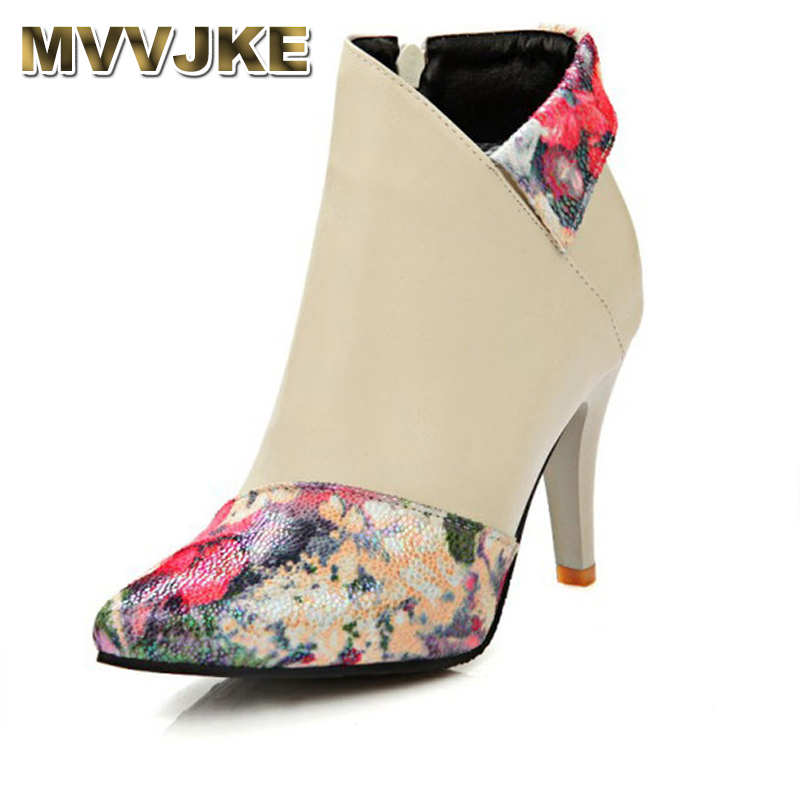 MVVJKESexy Women Boots Print Patchwork High Heels Women Shoes Lady Stiletto Pointed Toe Ankle Boots Winter Plush Shoes WomanE103 цена 2017