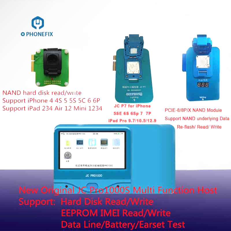 PHONEFIX JC Pro1000S PCIE NAND Programmer Serial Read Write Repair Tool For iPhone 4S 5 6