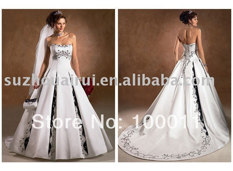 b0116 free shipping custom made elegant white  u0026 black embroidery bridal wedding dress dans robes