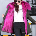 2016 New Women Winter Army Green Jacket Coats Thick Parkas Plus Size Real Raccoon Fur Collar Hooded Outwear fox rex rabbit fur