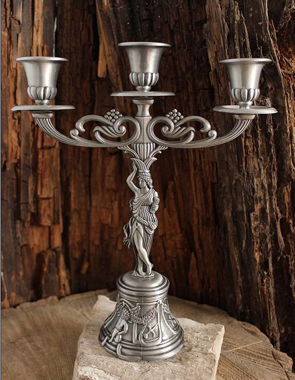 Home decor classical tin candlestick tinware european three ancient goddess tin candle holders Home decor candlesticks