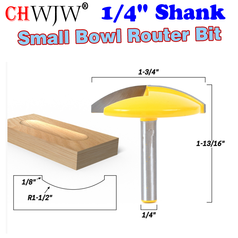 1PC 1/4 Shank Small Bowl Router Bit - 1-1/2 Radius - 1-3/4 Wide  door knife Woodworking cutter  - ChWJW 16170q high grade carbide alloy 1 2 shank 2 1 4 dia bottom cleaning router bit woodworking milling cutter for mdf wood 55mm mayitr