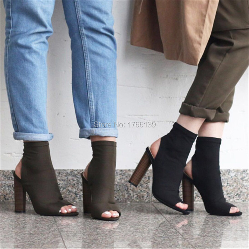Fashion Slingback Women Stretch Fabric Summer Ankle Boots Peep Toe Slip On High Heels Elastic Sock