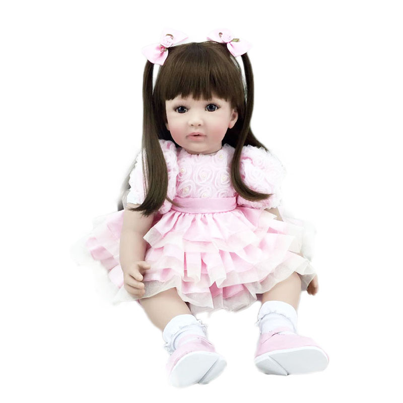 56CM Silicone Reborn Baby Doll Lifelike Princess Dolls Toddler Vinyl Simulated Doll Birthday Christmas Girl Kids Toy Gifts lifelike american 18 inches girl doll prices toy for children vinyl princess doll toys girl newest design