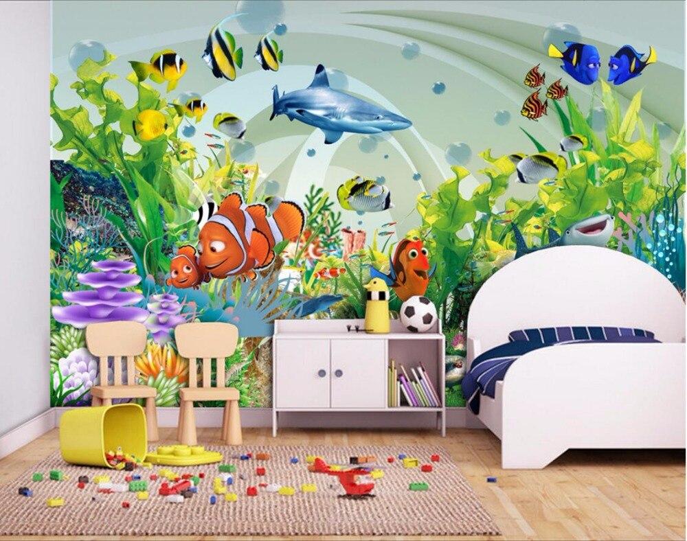 Kustom Foto 3d Wallpaper Kamar Mural Kartun Karang Laut Dunia Ikan