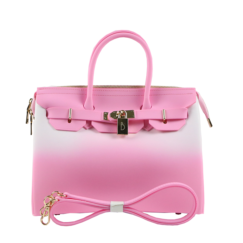 30bec70b3e Jellyooy Matte Pink White Zipper 30cm Large Size handbag women bag Girls  Plastic PVC Jelly Candy Color Shoulder Bag Beach Tote