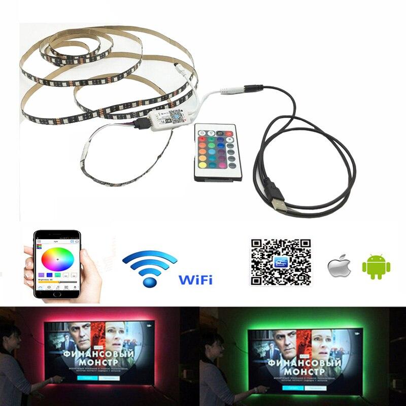 DC 5V USB wifi 24 Schlüssel RGB Licht mit SMD 5050 Flexible Licht Led-hintergrundbeleuchtung Hintergrund Licht TV Beleuchtung 50CM 1M 2M 3M 4M 5M
