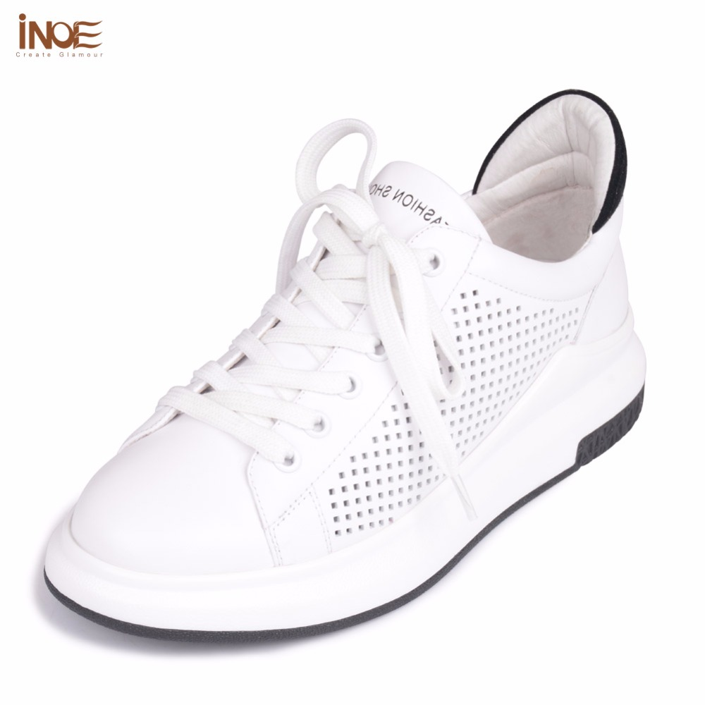 INOE 2017 new fashion style genuine cow leather women casual summer mesh shoes leisure lace up big girls loafers flats white 2016 new women s fashion shoes spring summer style casual flats lace up pointed toe leather plus size 35 41 loafers for girls