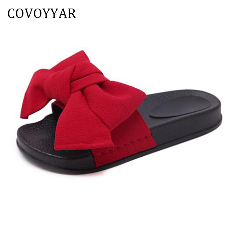 COVOYYAR 2018 Sweet Bowtie Women's Sandals Summer Fashion Platform Flat Slippers Slides Slip On Casual Beach Shoes Women WSS250 2016 summer patent leather buckle slides for women fashion stone upper flat platform ladies casual beach slippers sandals shoes