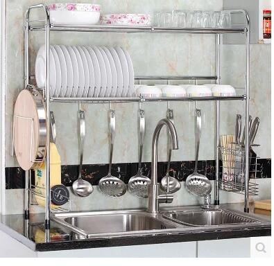 Stainless steel kitchen single and double sink drain rack. Basin storage racks..07 stainless steel sink drain rack