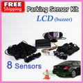 8 Sensors 22mm Buzzer LCD Parking Sensor Kit Display Car Reverse Backup Radar Monitor System 12V Free Shipping