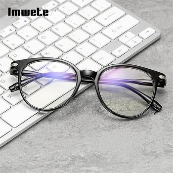Imwete Optical Round Eyeglasses Frame Blue Light Blocking Glasses Transparent Myopia Glasses Women Spectacles Womens blue light blocking glasses
