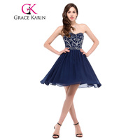 Free Shipping 1pc Lot Grace Karin Beaded And Sequins Short Navy Blue Chiffon Cocktail Dress CL6049
