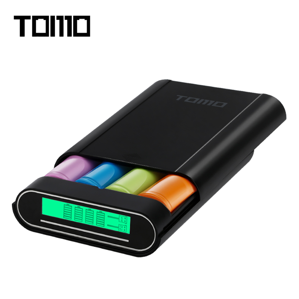 TOMO M4 DIY Smart 4x18650 Li-ion Battery Charger Dual-use External Mobile Power Bank Battery Storage Box with LCD Display Screen